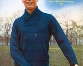 "Sirdar 1597 Vintage Knitting Pattern Man's Sports Sweater 38"" - 44"" Chest"