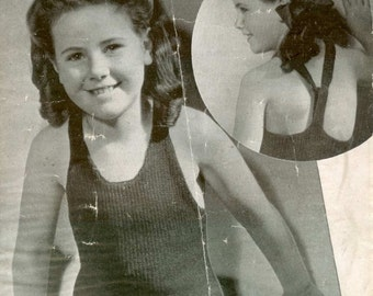 Weldons 462 Vintage Knitting Pattern Child Sun and Swim Suit for 8-12 yo's