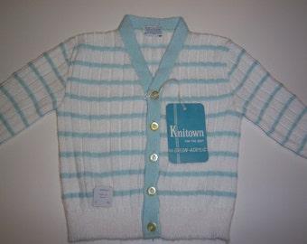 Vintage Knitown cardigan - 9 month size, baby, aqua and white stripe, orlon - crazyadsteam