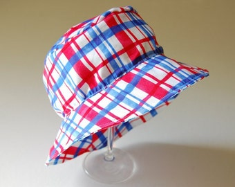 child's cotton hat- EMERSON- Red White and Blue Plaid- size children's L