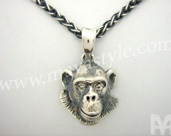 Sterling Silver Chimpanzee Pendant
