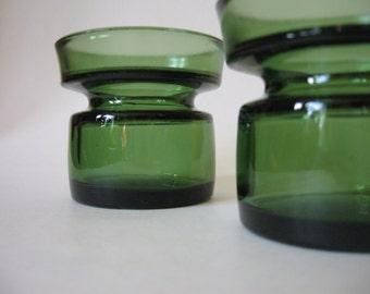 Set of 2 Dansk Denmark green glass vintage mid century mod candle holders votives