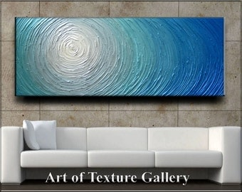70 x 28 Custom Original Abstract Heavy Texture Aqua Blue White Silver Water Carved Oil Painting by Je Hlobik