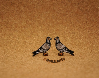 Pigeon Embroidered Patch Set