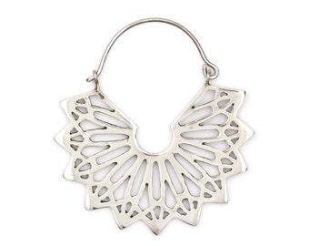 Mandala Earrings - Hoop Earrings - Geometric Earrings - Silver Earrings