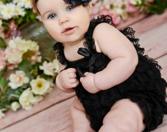 Petti Lace Romper and Headband SET in Black, Baby Girl Headband and Lace Petti Romper SET. Shabby Chic Headband,black petti romper