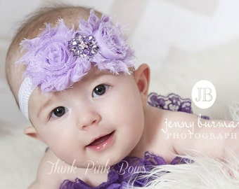 Baby Headband,Lavender baby headband,newborn headband,shabby chic headband,chevron headband,baby girl headband,toddler,girls,baby bows.