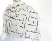 CUSTOM SCARF - Custom words on the scarf - Ivory - Blue - Black - Brown - GIFT