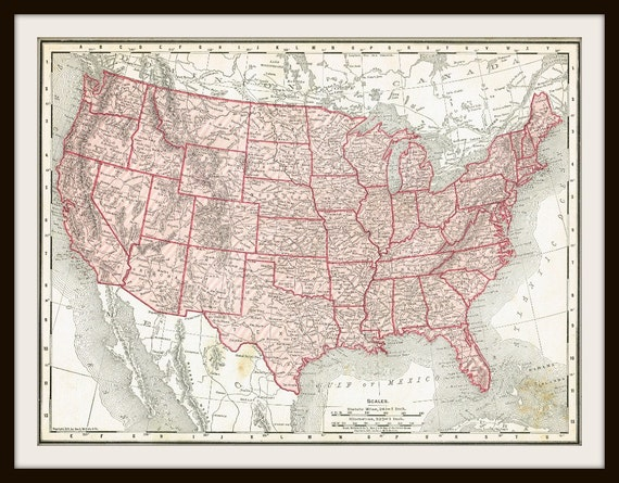 DIGITAL Download 1911 UNITED States Map US Map For