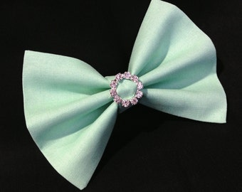 Hair Bow Vintage Inspired Seafoam Green with Rhinestones Clip Rockabilly Pin up Teen Woman Alligator Clip, French Barrette