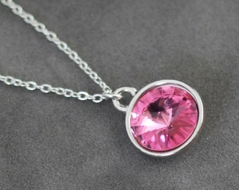 Pink Tourmaline Necklace, October Birthstone Necklace, Rose Pink Crystal, October Birthstone Jewelry, Pink Necklace