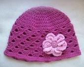 Handmade crochet cloche hat  beanie hat chemo style hat dusty rose crochet flower