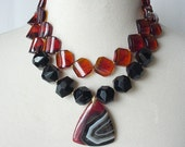 Amber Black Statement Necklace, Double Strand Chunky Large Beads, Bold Color Blocked, Stone Pendant