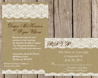 Burlap and Lace Wedding Invitation, Vintage Lace Wedding Invitation, Western Wedding Invitation