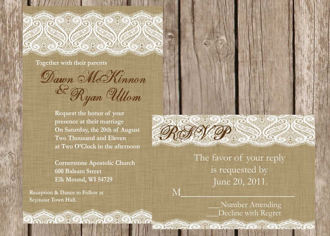 Lace Wedding Invitation: Burlap And Lace Wedding Invitation Vintage Lace Wedding