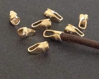 10  14Kt Gold Filled Endcaps with Loop  - For 1.5mm - 2mm Cord -Crimp End CR30