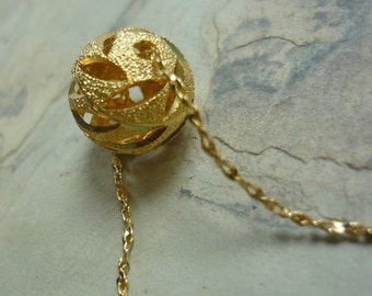Brushed Gold Necklace, layering Necklace, Ball Pendant, Delicate Necklace, Simple Necklace, Gold Bead pendant, bridesmaids necklace, preppy.
