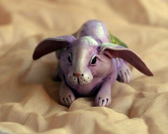 Light Lilac Watercolor Spring sitting rabbit  N4. Polymer clay miniature by Madre Olius
