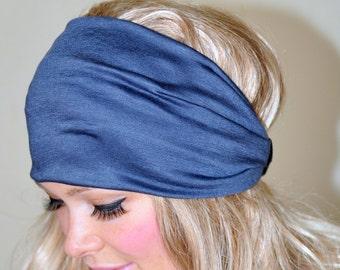 Women Headband Gray Grey Stretch Hair Scarf Headwrap CHOOSE COLOR Helmet Jersey Gym Hair Covering Yoga Head wrap
