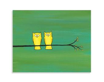 Whimsical Owl Print - Owls on a Branch Wall Art  - Colorful Woodland Nursery Decor