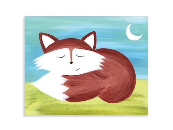 Fox Nursery Fine Art Print - Sleeping Fox Painting Print