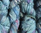 SALE - Recycled Sari Silk Ribbon -  Monet Lilies