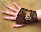 Red Brocade - Fabric Cuff Bracelet - Modern Style
