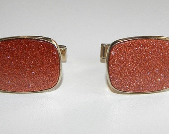 Mens Vintage Faux Gold Stone Cuff Links