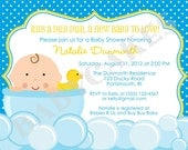 Rubber Ducky Baby Shower Invitation - DIY Print Your Own - Matching Party Printables available.