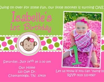 Mod Monkey Birthday Party Invitation invite Girl 1st birthday  photo picture DIY Printable DIgital
