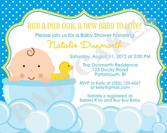 Rubber Ducky Baby Shower Invitation Invite Baby Sprinkle Invitation Party Printable