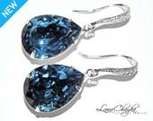Denim Blue Crystal Earrings Sterling Silver CZ Navy Blue Earrings Swarovski Rhinestone Earrings Dark Blue Wedding Earrings FREE US Shipping
