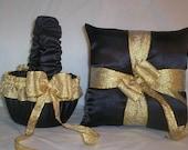 Black Satin With Gold Metalic Ribbon Trim  Flower Girl Basket And Ring Bearer Pillow Set 1