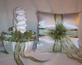 White Satin with Sage Green Ribbon Trim  Flower Girl Basket And Ring Bearer Pillow Set 1