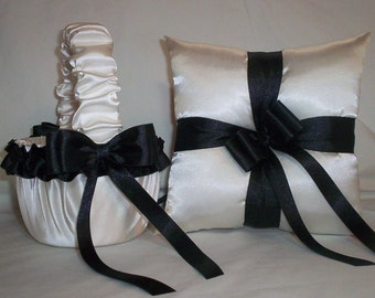 Ivory Cream Satin With Black Ribbon Trim Flower Girl Basket And Ring Bearer Pillow Set 2