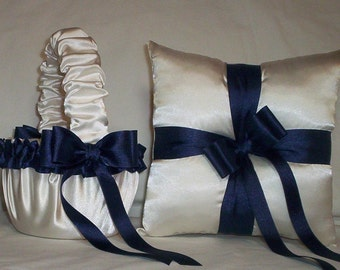 Ivory Cream Satin With Navy Blue Ribbon Trim Flower Girl Basket And Ring Bearer Pillow