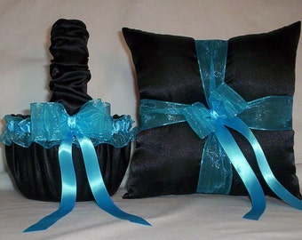 Black Satin With Turquoise  Blue Trim  Flower Girl Basket And Ring Bearer Pillow Set 1
