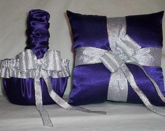 Purple Satin With Silver Metalic Ribbon Trim Flower Girl Basket And Ring Bearer Pillow Set 1