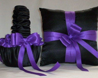 Black Satin With  Purple Ribbon Trim  Flower Girl Basket And Ring Bearer Pillow