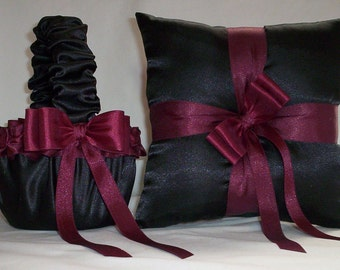 Black Satin With Burgandy Ribbon Trim  Flower Girl Basket And Ring Bearer Pillow