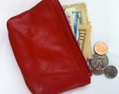 Men's or women's small red leather pouch
