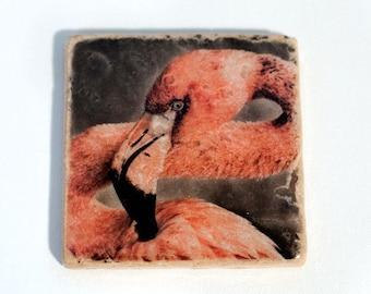 Stone Coaster: Pink Flamingo - Nature Home Decor - Stocking Stuffer