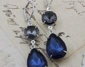 Navy earrings Gray Earrings Silver Earrings Dangle Earrings Navy Blue Bridesmaids Jewelry Black Diamond Grey  - Avail as Clip on Earrings