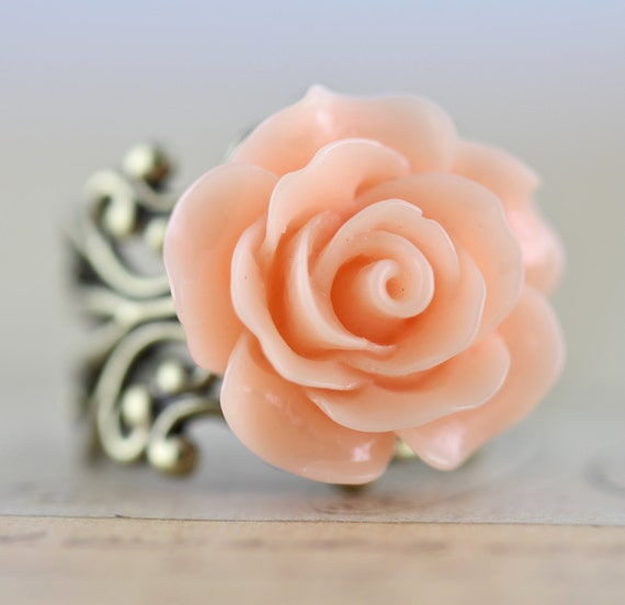 Rose Ring Flower Rings Peach Pink Bridesmaids Gift Wedding Jewelry - Brass or Silver Handmade by Inspired by Elizabeth