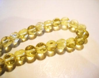 Yellow Glass Beads Goldenrod Beads Yellow Beads Twist Beads 8mm Beads Light Yellow Beads Wholesale Beads Soft Yellow Beads 44 pieces