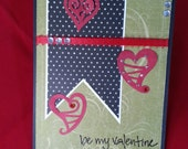 Red and Green Valentine with Hearts