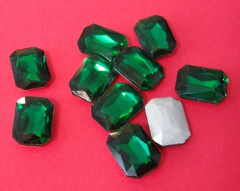 2pcs- Vintage Faceted Glass Foiled Back Jewels Emerald Octagon Rectangle 14x10mm