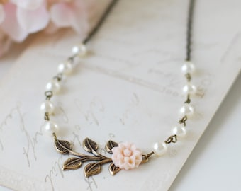 Antique Brass Leaf Swarovski Cream Pearls pale Pink Flower Necklace Vintage Inspired Wedding Bridal Necklace Bridal Party Bridesmaid Gift