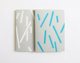 sticks pattern notebook - white or blue