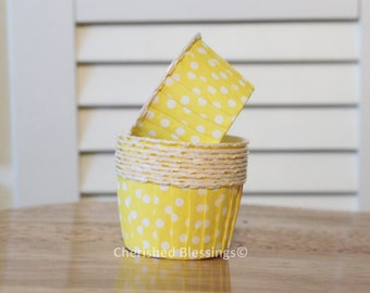 20 MINI Cupcake Liners Polka Dot Nut Cups Baking Cups Pink Lemonade Party Kids Birthday Baby Shower Wedding Polka Dots Paper Goods Yellow